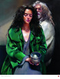 The Painter with Anna holding a pit-fired bowl. by Robert Lenkiewicz