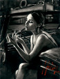 Darya in car with lipstick (Deluxe) by Fabian Perez