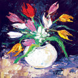 Mixed tulips with white daisies by John Lowrie Morrison