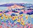 Sunflowers Provence on Canvas by John Holt