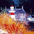 Autumn, wee lighthouse Crinan by John Lowrie Morrison