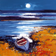 Autumn moon over Bunessan Isle of Mull by John Lowrie Morrison
